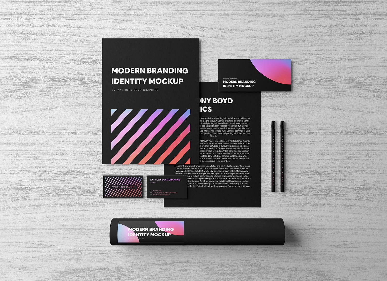 Free Black Stationery Corporate Brand Identity Mockup PSD