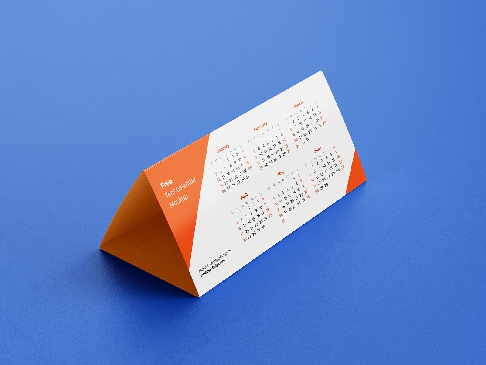 Free DL Tent Desk Calendar 2020 Mockup PSD Set (1)
