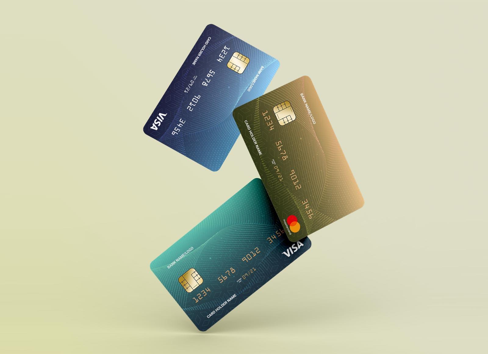 Free Floating Credit / Debit Bank Cards Mockup PSD