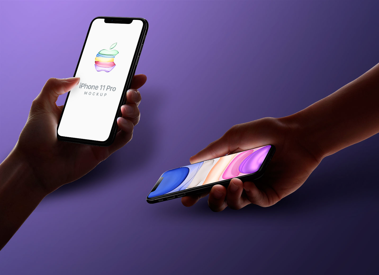 Free Hand Holding iPhone 11 Pro Mockup PSD