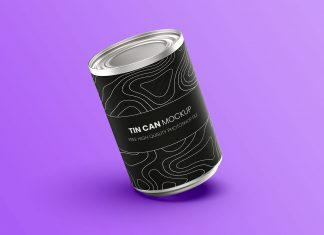 Free Metal Food Tin Can Mockup PSD