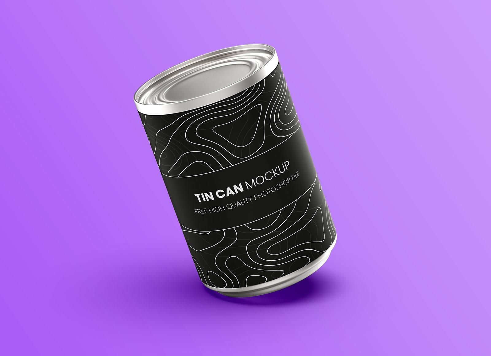 Free Metal Food Tin Can Mockup PSD
