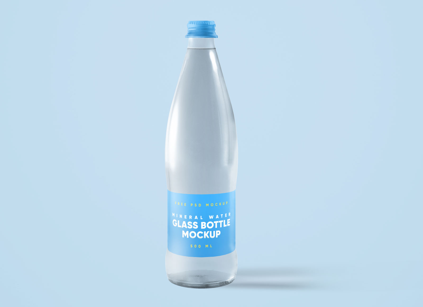 Free Glass Mineral Water Bottle With Cap Mockup PSD