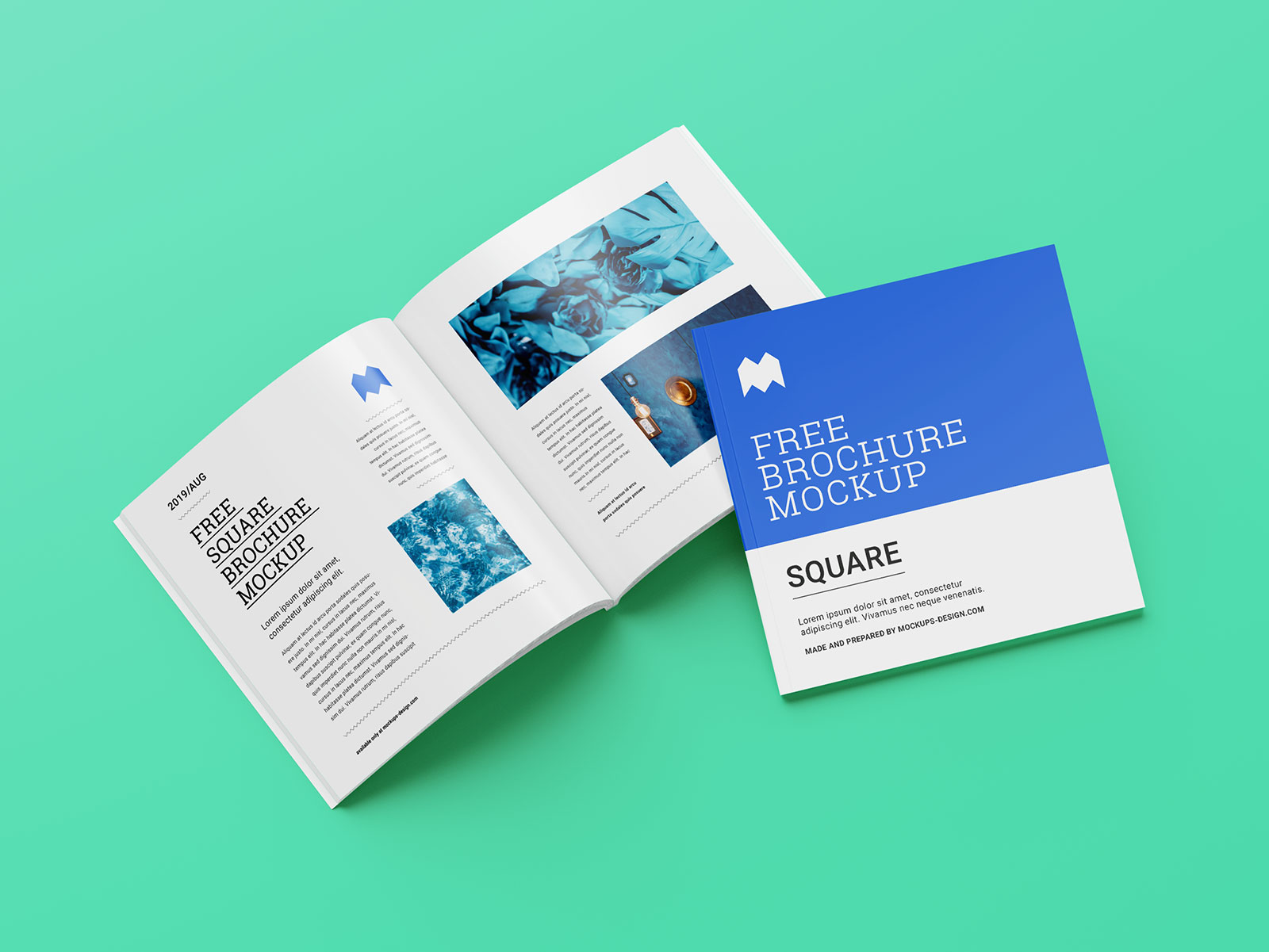 Free Perfect Binding Softcover Square Brochure Mockup Psd Set