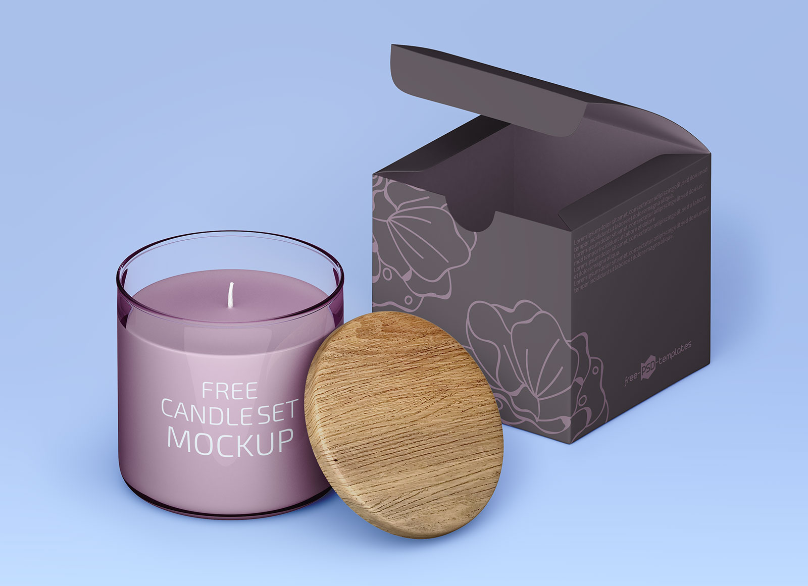 Free Scented Jar Candle Packaging Mockup PSD Set