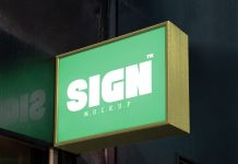 Free Wall Mounted Signage Board Mockup PSD with Reflection