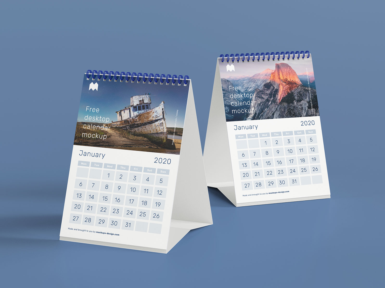 Free A5 Desk Calendar Mockup PSD Set