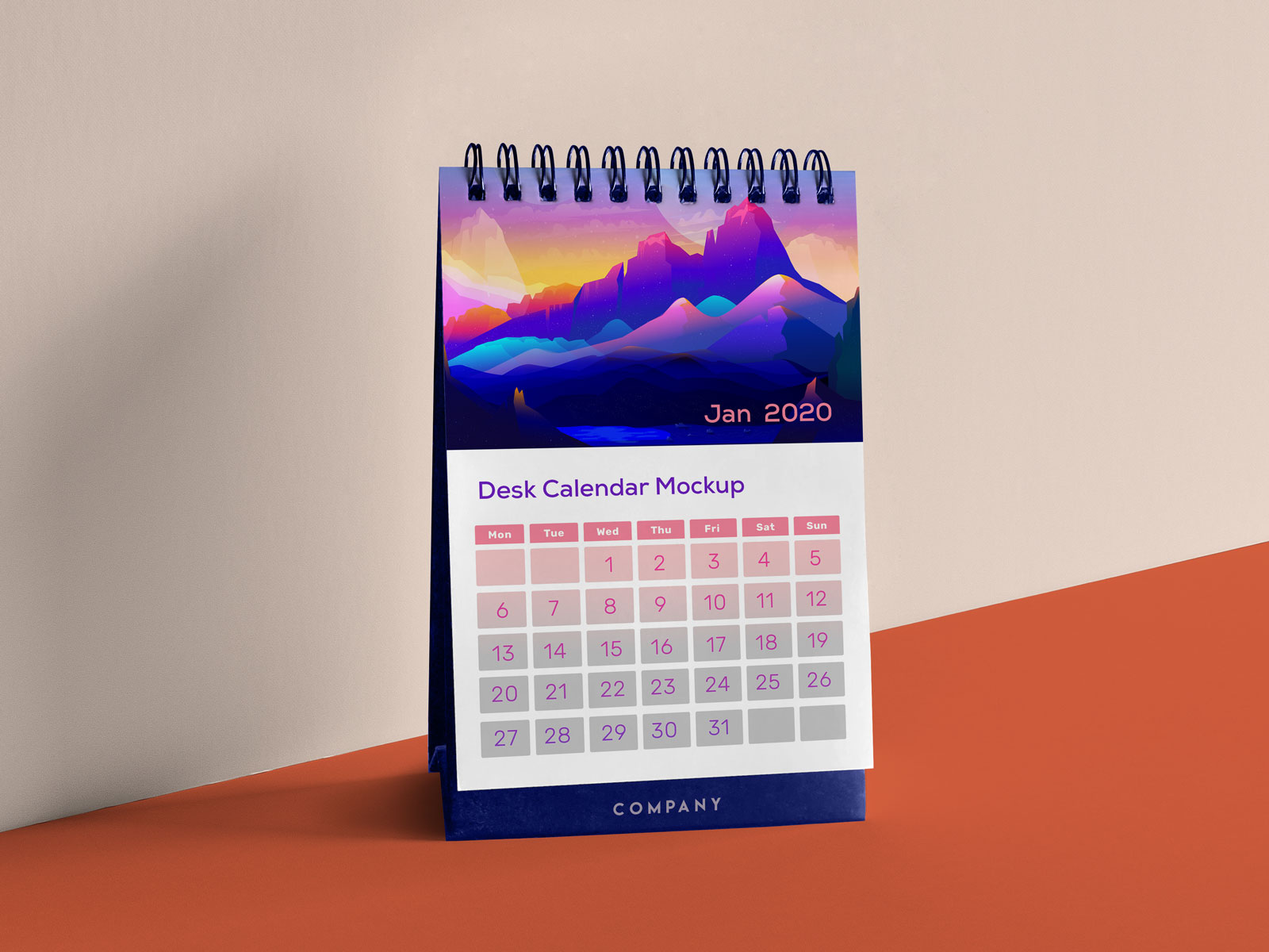 Free Vertical Table / Desk Calendar Mockup PSD