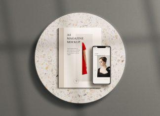 Free-A4-Magazine-&-iPhone-11-Pro-Mockup-PSD
