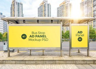 Free-Bus-Stop-Shelter-Advertising-Panels-Mockup-PSD-File