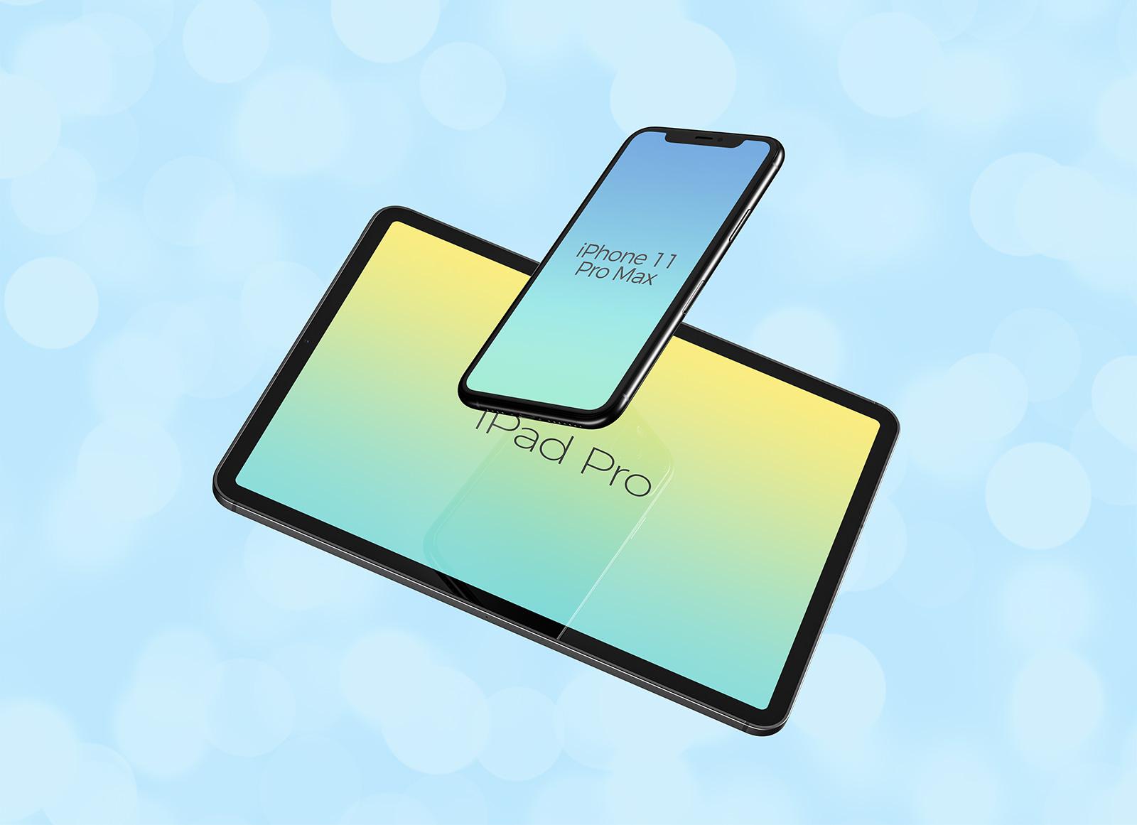 Free-Floating-iPhone-11-Pro-Max-&-iPad-Pro-Mockup-PSD