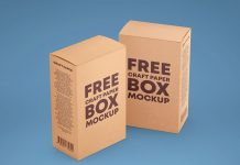 Free Kraft Paper Box Packaging Mockup PSD Set (1)