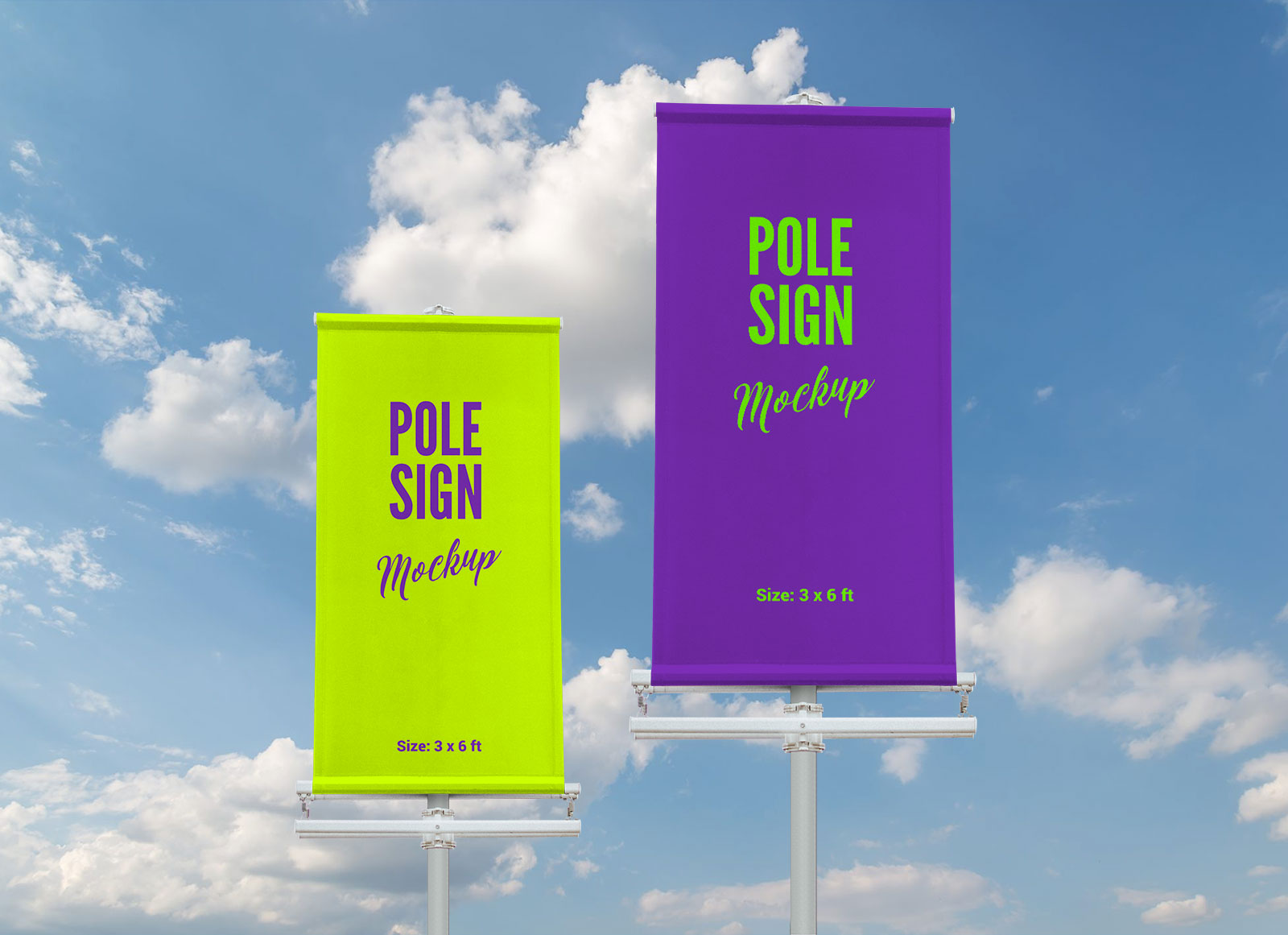 Free-Outdoor-Advertising-Modern-Pole-Sign-Mockup-PSD