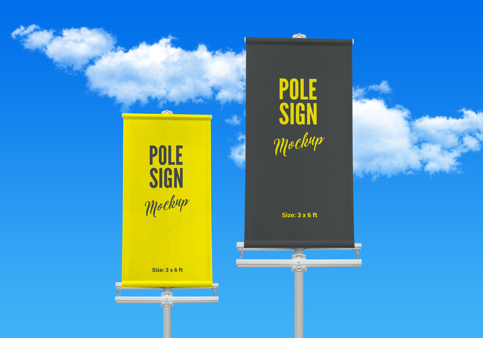 Free Outdoor Advertising Street Pole Banner Mockup PSD