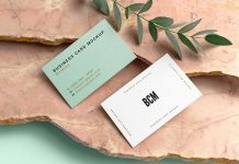 Free Business Card Mockup PSD with Marble Stones