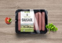 Free Sausage Food Packaging Mockup PSD