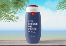 Free Shower Gel Bottle Mockup PSD