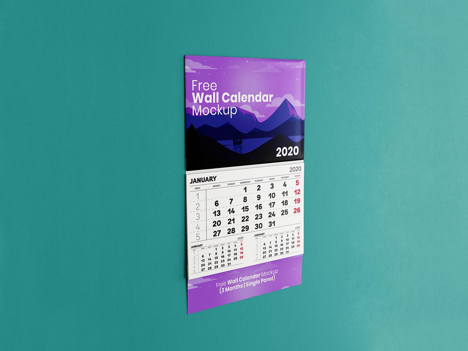 Free-Single-Panel-3-Month-Wall-Calendar-Mockup-PSD-File