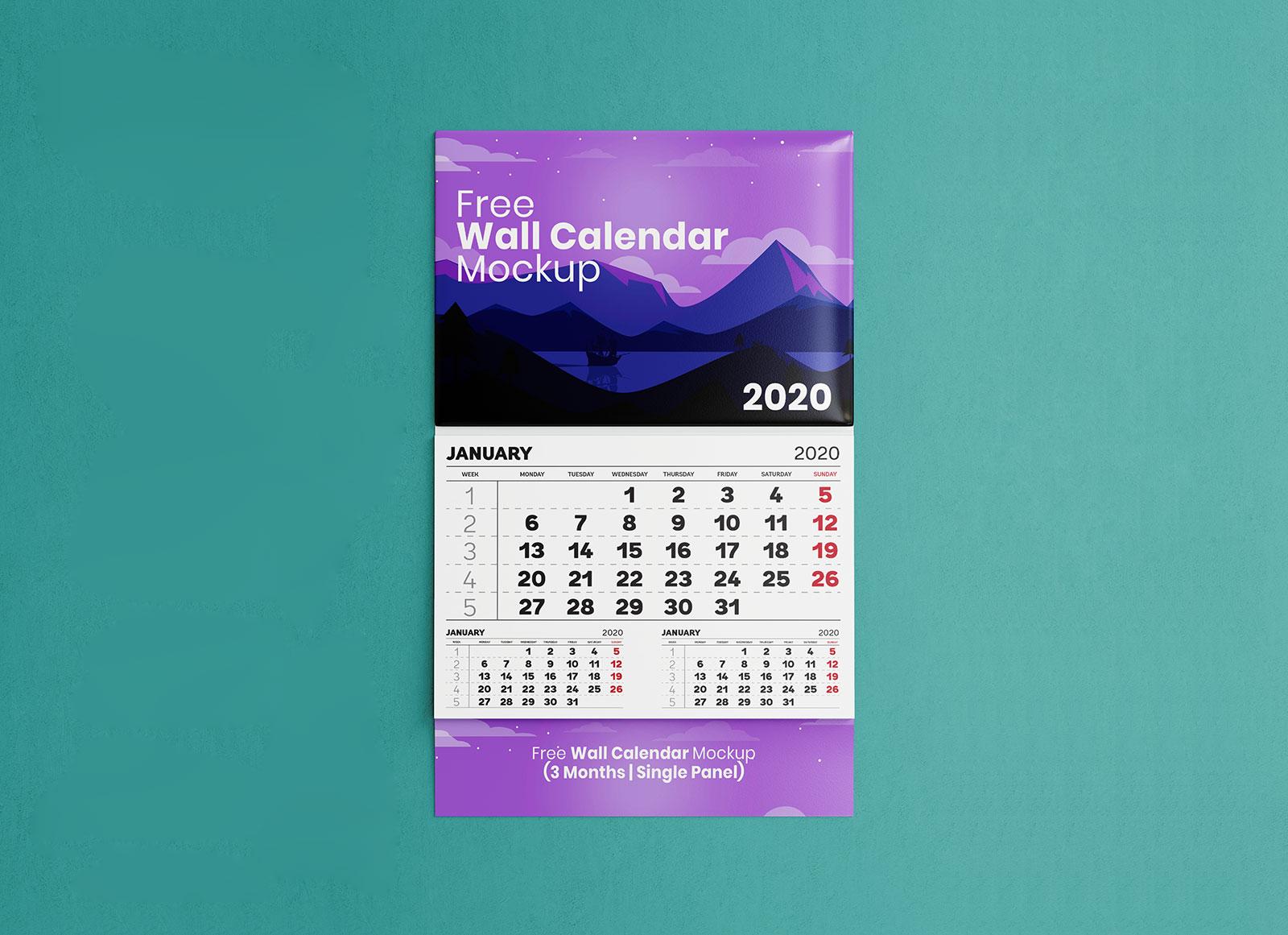 Free-Single-Panel-3-Month-Wall-Calendar-Mockup-PSD