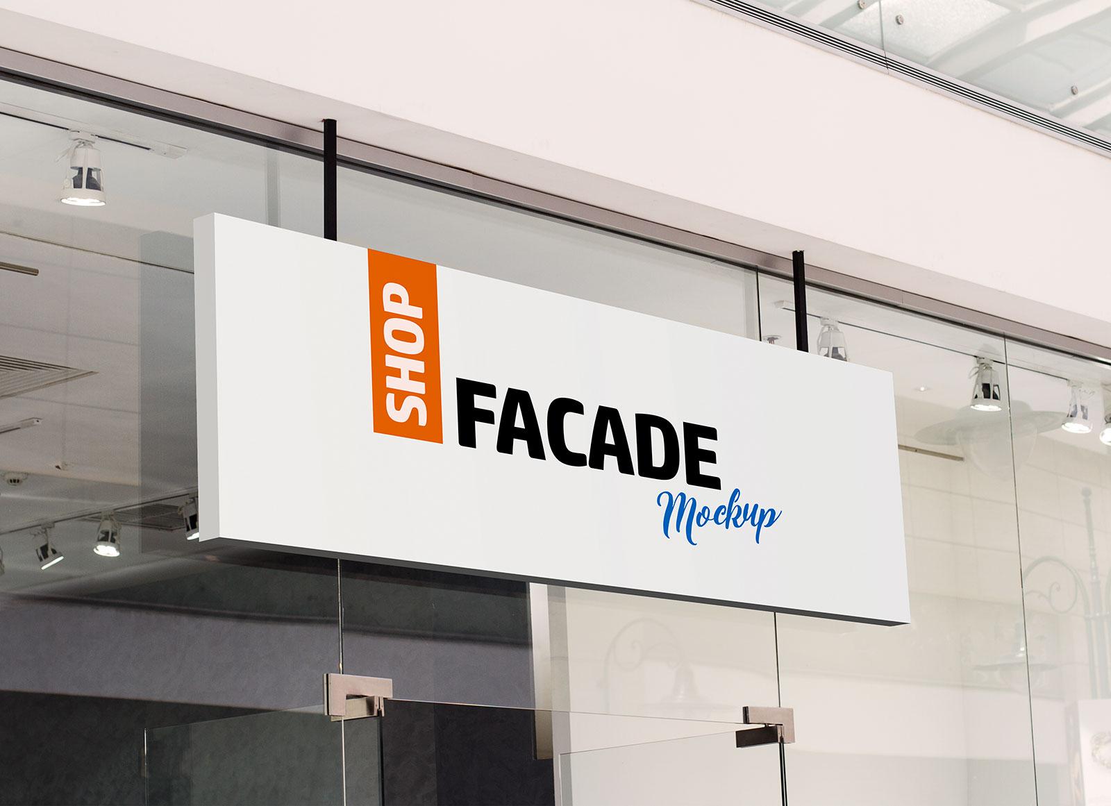Free Restaurant Shop Facade Logo Mockup PSD