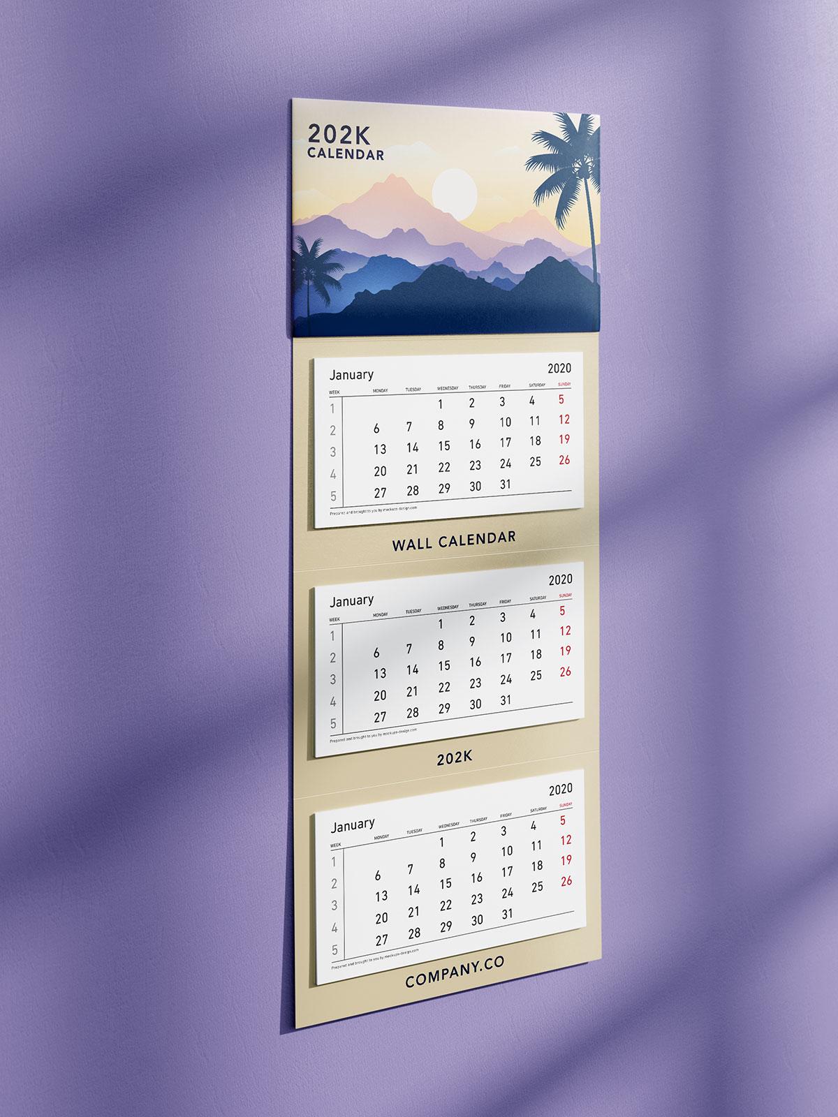 Free 3 Panel 3 Month Display Wall Calendar Mockup PSD