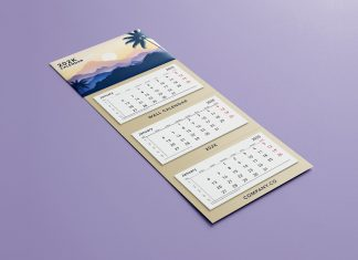 Free 3 Panel 3 Month Display Wall Calendar Mockup PSD