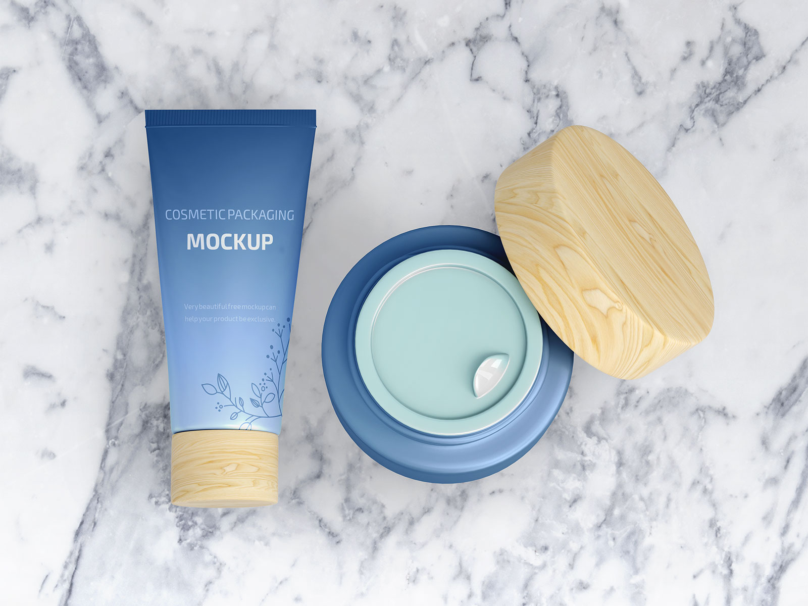 Free Floating Cosmetic Cream Tube & Jar Mockup PSD Set