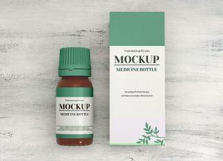 Free-Glass-Pill-Bottle-&-Packaging-Mockup-PSD-Set
