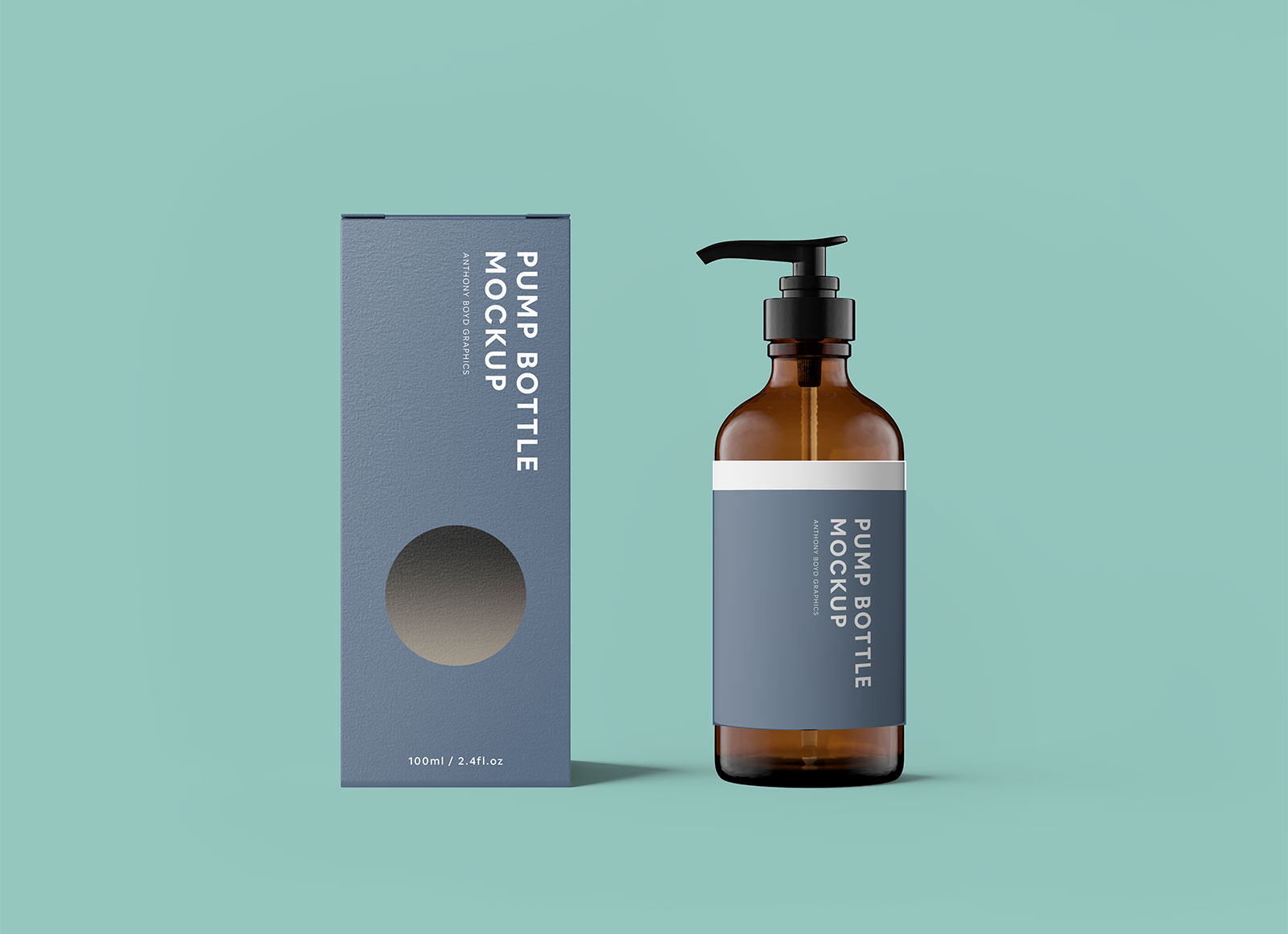 Free Glass Pump Bottle With Packaging Mockup PSD
