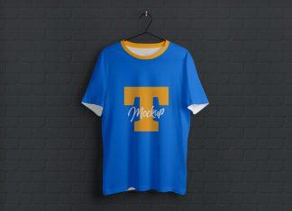 Free-Half-Sleeves-Hanging-T-Shirt-Mockup-PSD