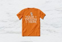 Free-Rounded-Neck-Half-Sleeves-T-Shirt-Mockup-PSD-File
