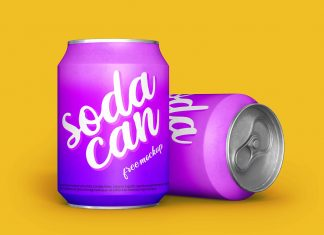 Free Soda Tin Can Mockup PSD Set