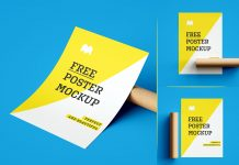 Free A4 Size Paper Poster Mockup PSD Set (1)