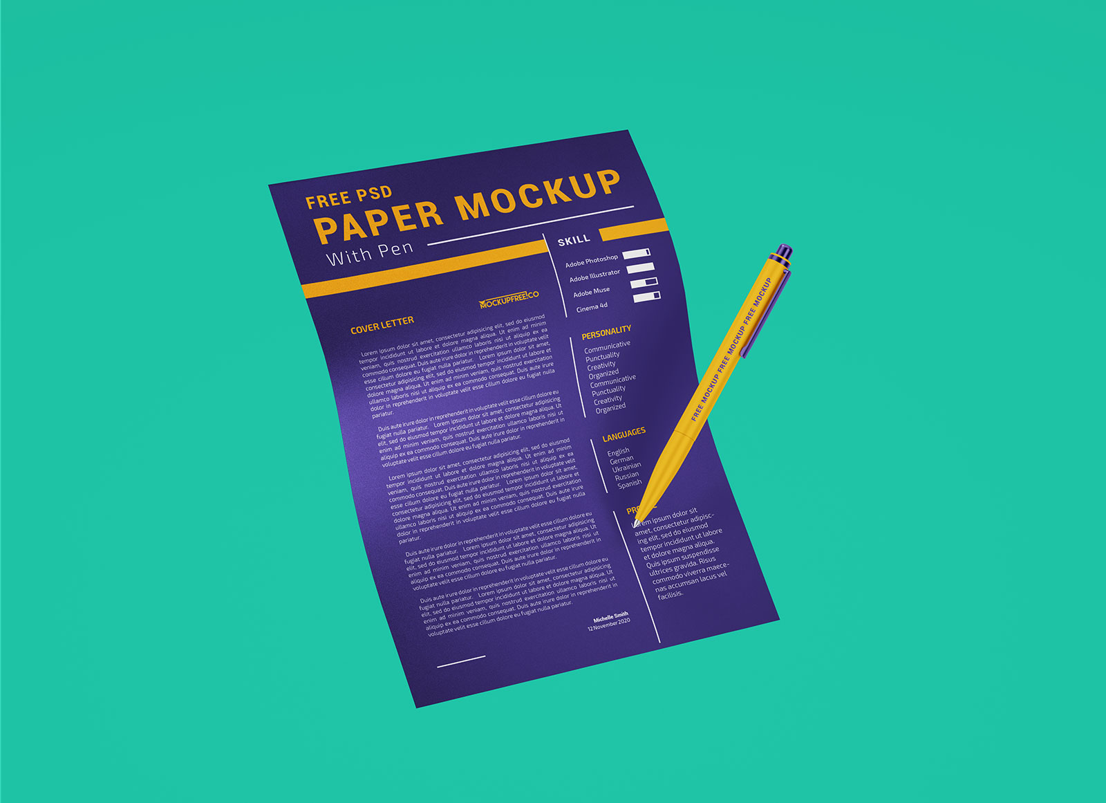Free-A4-Size-Paper-with-Ballpoint-Pen-Mockup-PSD-Set