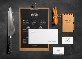 Free Food Branding Stationery Mockup PSD