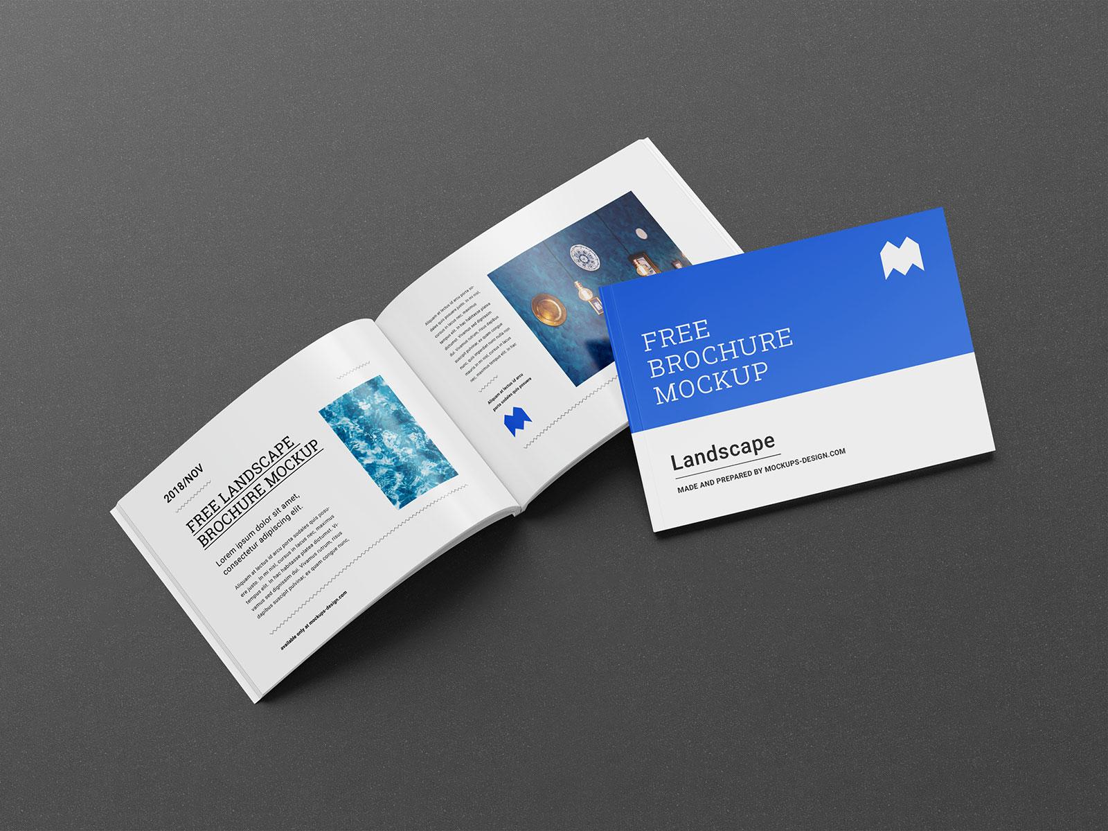 Free Landscape Executive Perfect Binding Brochure Mockup Psd Set