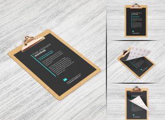 Free Premium Quality Clipboard Mockup PSD Set (5)