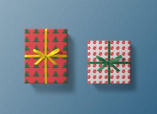 Free Top View Christmas Gift Box Mockup PSD