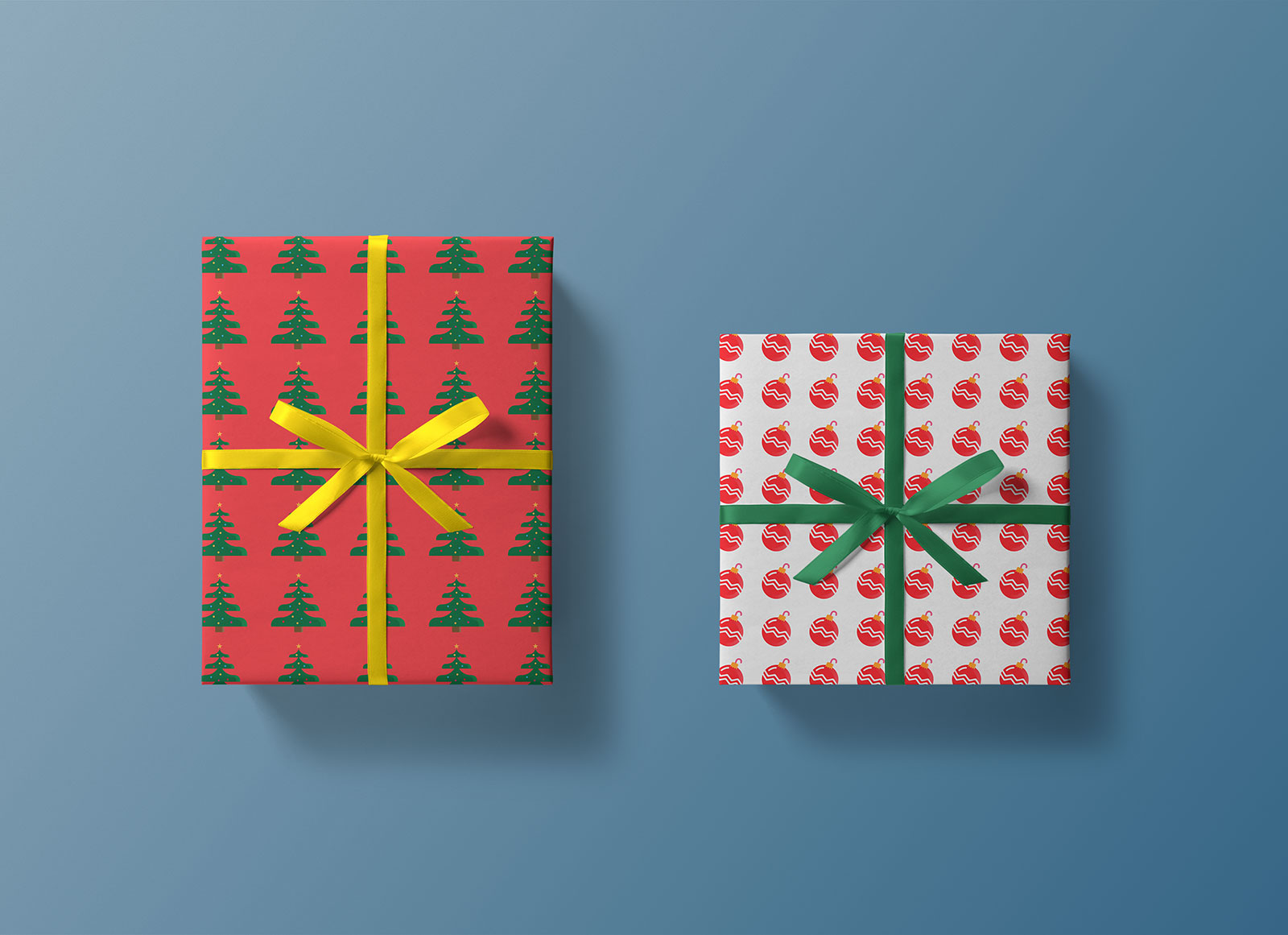 Free Top View Christmas Gift Box Mockup PSD