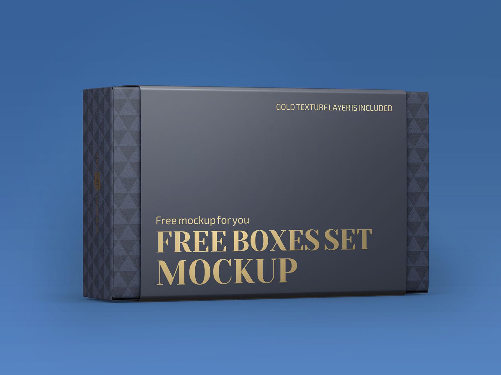 Free Wrap Around Label Box Packaging Mockup PSD Set (1)