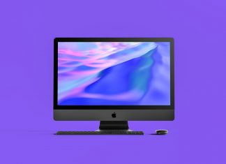 Free 27 Inches 5K Black Apple iMac Pro Mockup PSD