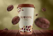 Free Standard Paper Coffee Cup Mockup PSD