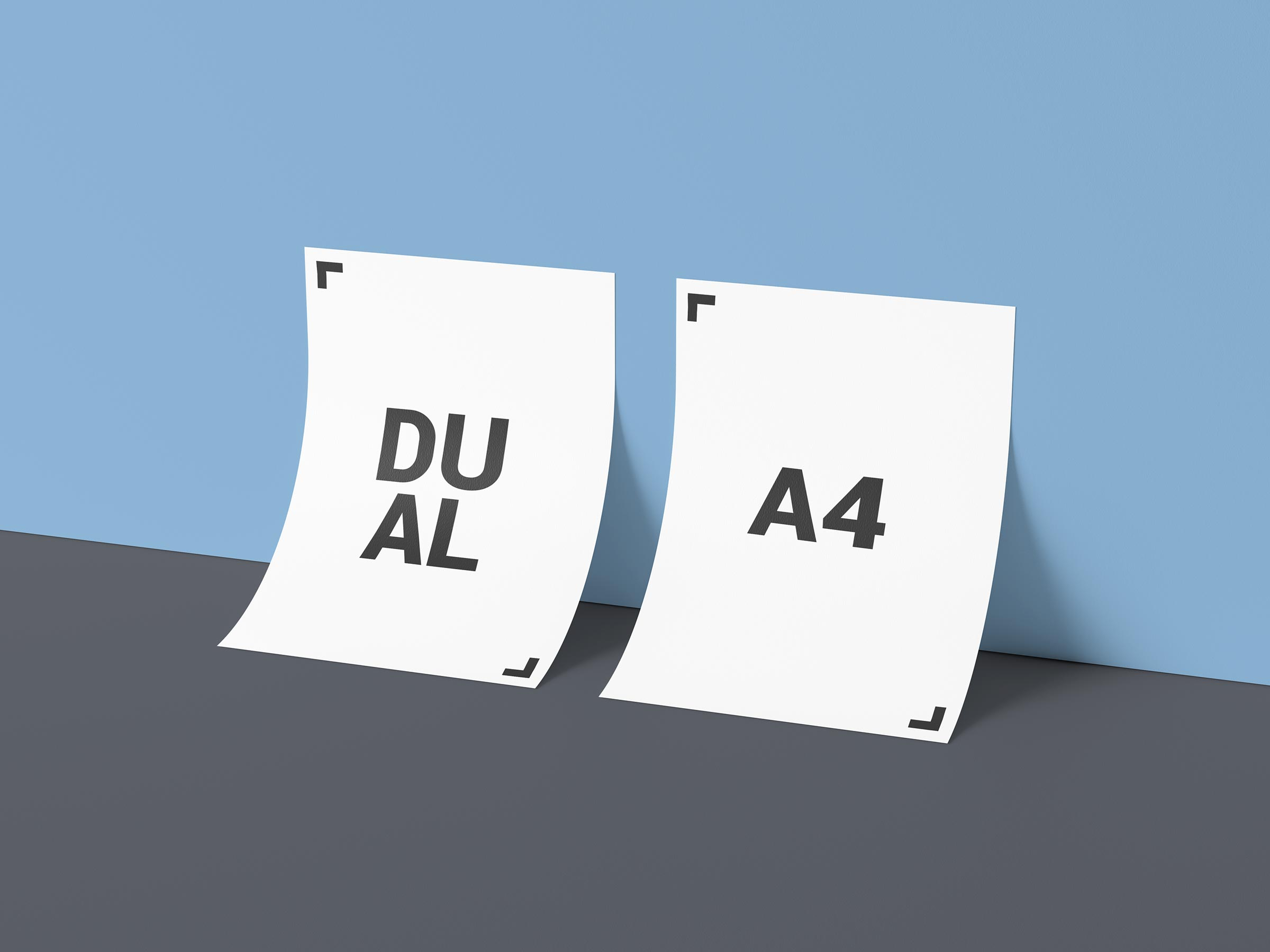 Free-Dual-A4-Paper-Against-Wall-Mockup-PSD-File