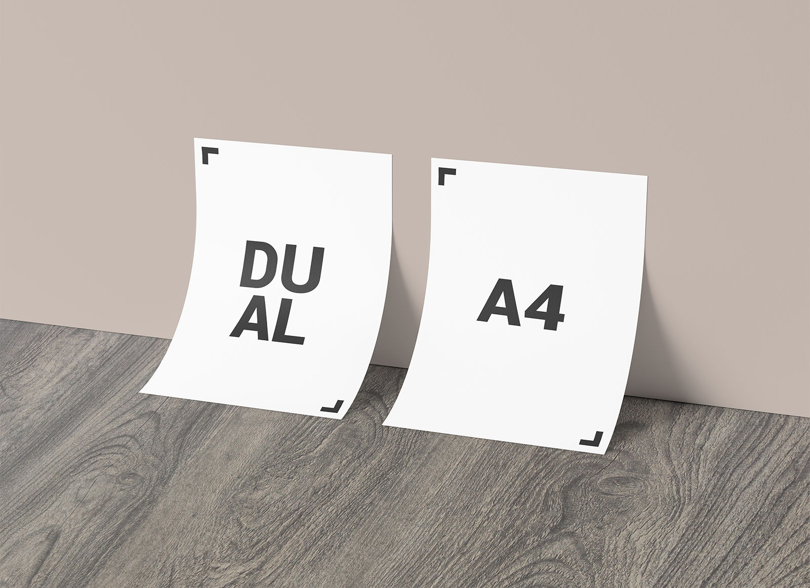 Free-Dual-A4-Paper-Against-Wall-Mockup-PSD