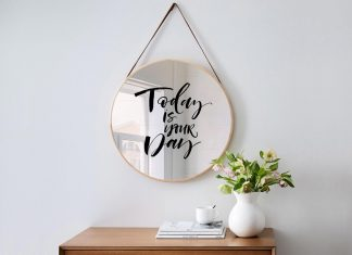 Free Hanging Mirror On Wall Mockup PSD