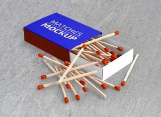 Free Matchbox & Matches Packaging Mockup PSD