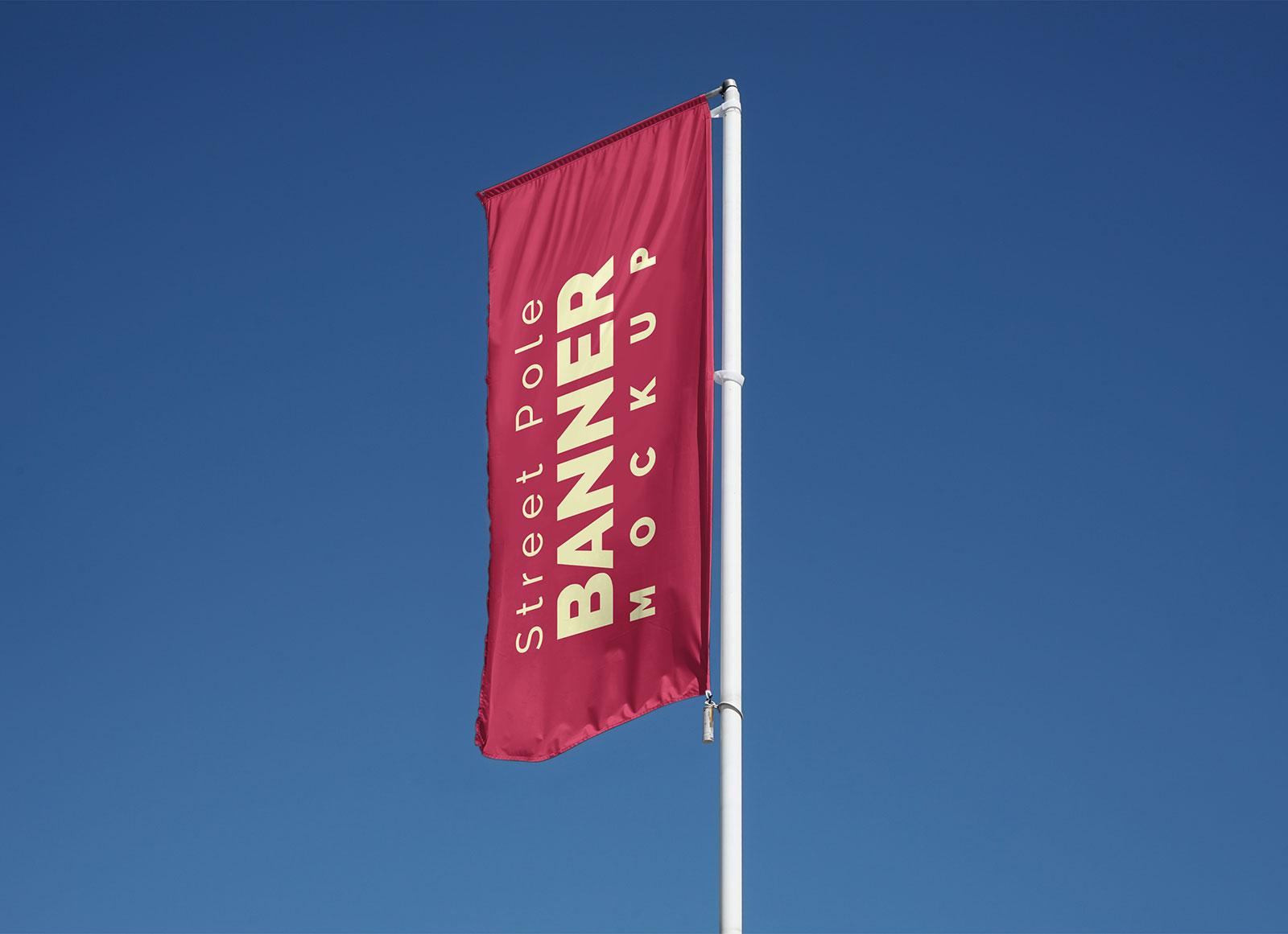 Free-Outdoor-Street-Pole-Banner-Flag-Mockup-PSD