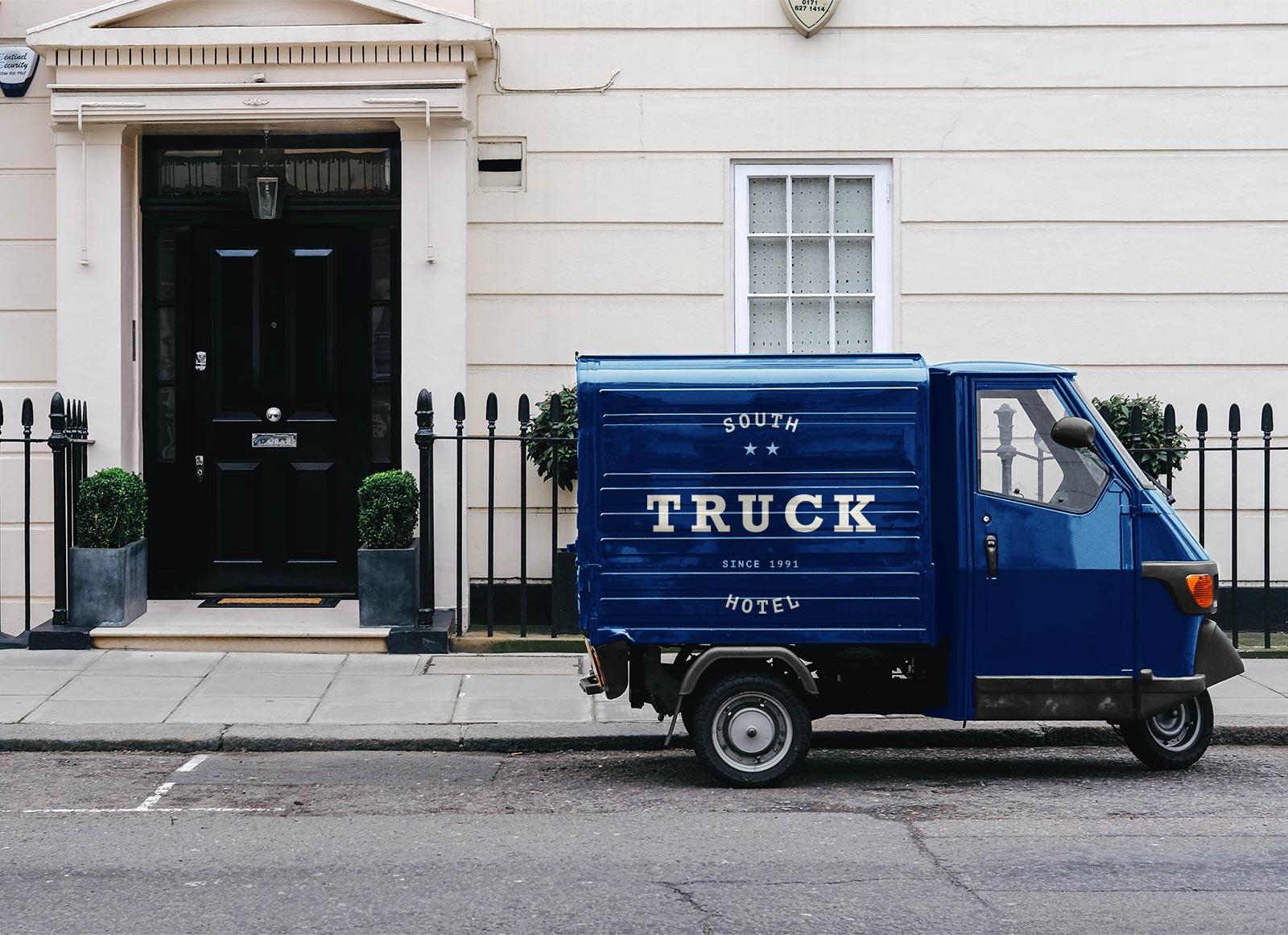 Free Piaggio Pickup Truck Vehicle Branding Mockup Psd Good Mockups