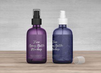 Free Plastic Spray Bottle Mockup PSD Set (1)