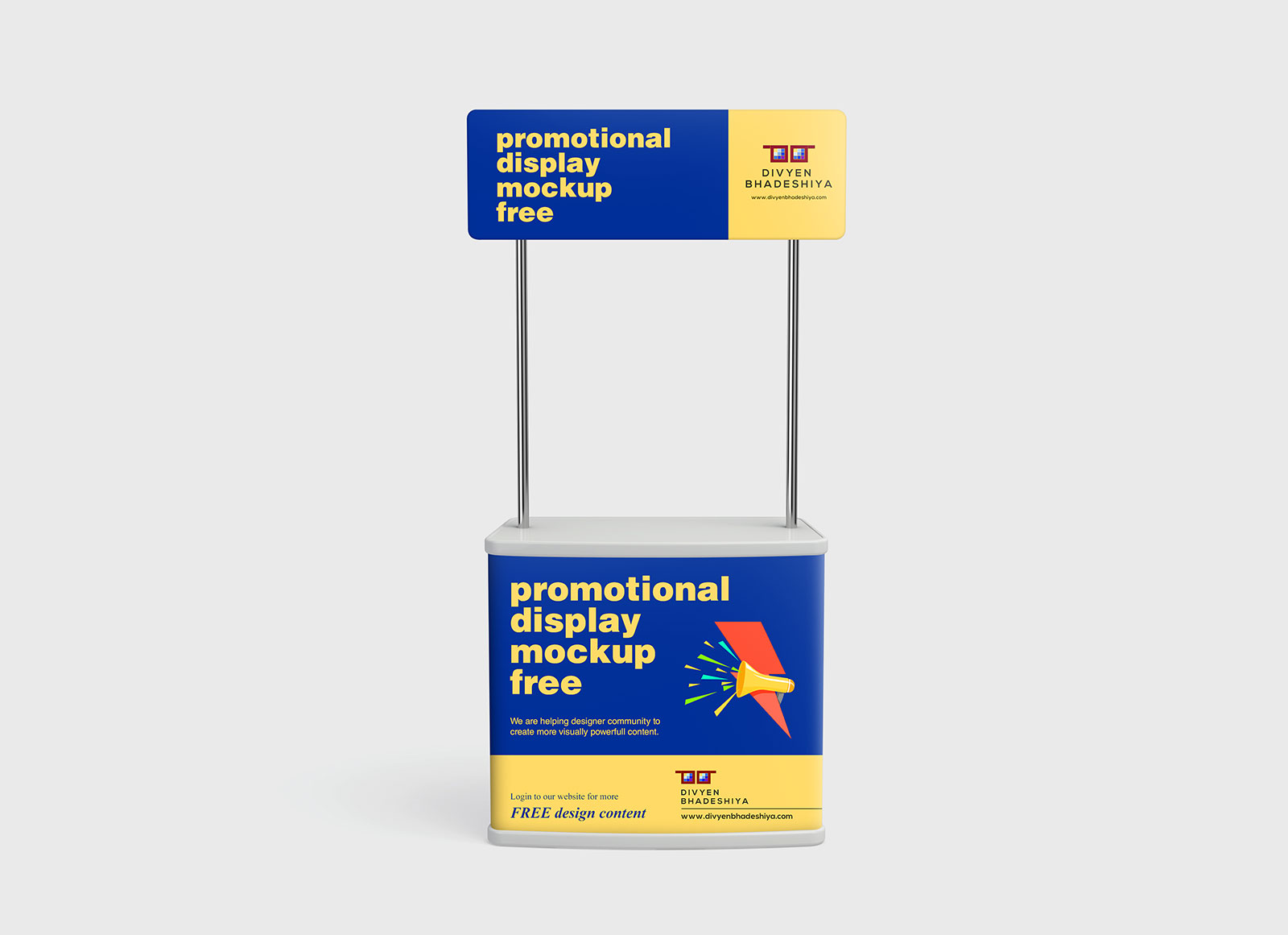 Free Promotional Advertising Counter Table / Display Desk Mockup PSD